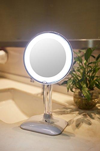 Harcas Schminkspiegel mit Lampen. Kosmetikspiegel mit LED-Beleuchtung und 10X Vergrößerung. Ideal zum Schminken, Rasieren, Zähneputzen, Augenbrauenzupfen und für das Badezimmer oder zum Reisen. Weiß - 7