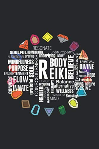 Reiki Body Believe: Reiki Terms Wordcloud Crystal Energy Stones Notebook 6x9 Inches 120 dotted pages for notes, drawings, formulas | Organizer writing book planner diary