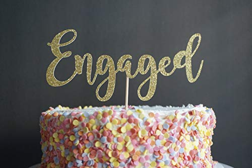 Cake Topper Gold Or Silver Glitter Engaged Cake Decor Engagement Party Cardstock Glitter Paper (Engagement Decor Party)