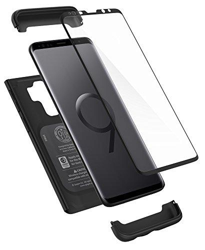 Spigen 593CS22959 Thin Fit 360 für Samsung Galaxy S9 Plus Hülle, 360° Rundumschutz-Schale mit Gratis Panzerglas Handyhülle Schutzhülle Case Schwarz
