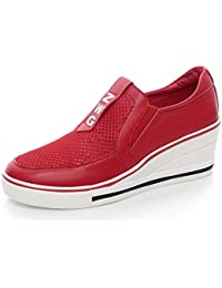 SHOWHOW Damen Strass Mehrfarbig Plateau Sneakers Freizeitschuh Rot 42 EU Z7591a0