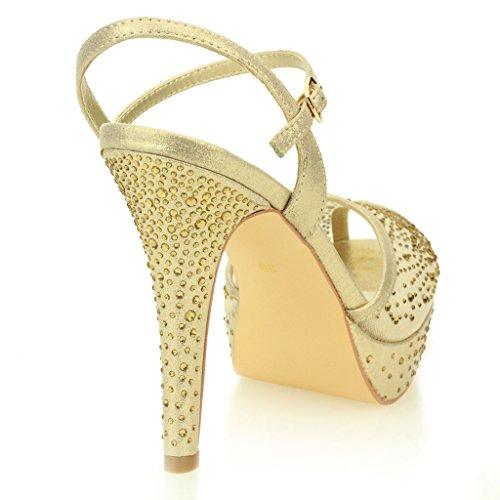Femmes Dames Soir Mariage Fête Talon haut Plateforme Diamante De mariée Des sandales Chaussures Taille Or