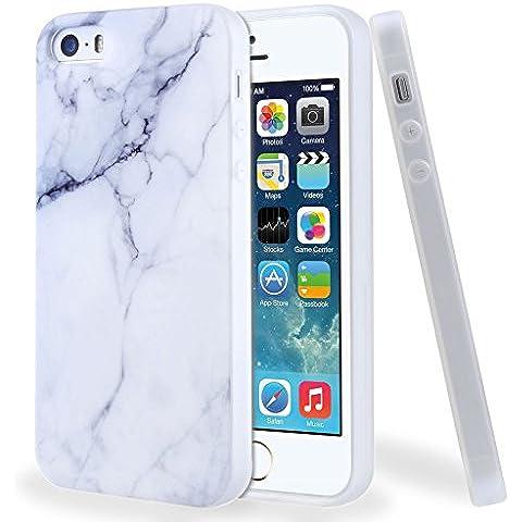 Funda para iPhone SE / 5 / 5S, Leathlux Premium Mármol Patrón Suave TPU Carcasa Protector Bumper Tapa Flexible Silicona Gel Ultra Delgado Cubierta para Apple Iphone 5 / 5S /
