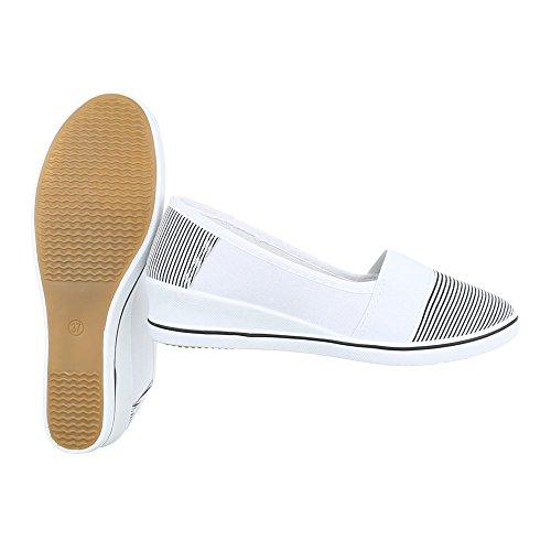 Slipper Damenschuhe Low-Top Keilabsatz/ Wedge Moderne Ital-Design Halbschuhe Weiß