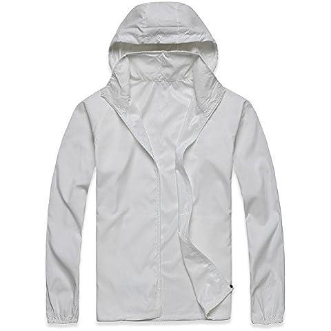 MaMaison007 Impermeabile leggero vento Coat ciclismo adatti ad asciugatura rapida abbigliamento protezione aerodinamico-bianco -S