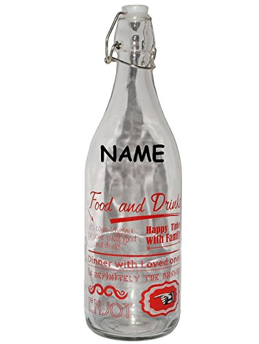 alles-meine.de GmbH Vintage & Retro - Rot  - Große Flasche mit Bügelverschluß - Incl. Name - G..