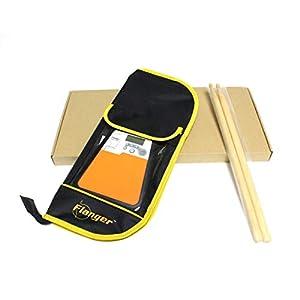 Delicacydex Digital-elektrisches dummes Trommel-Pad für Training Praxis-Metronom-Percussion-Instrument liefert Rhythmus-Trainer mit Trommelstock – Schwarzes u. Orange