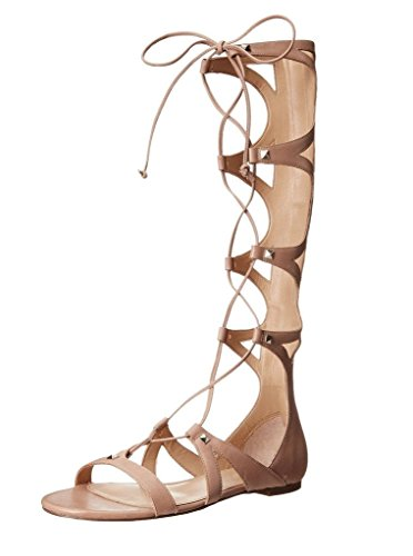 Kolnoo Damen Hoch Kalb Knie Hohe Riemchen Studs Flache Lace Up Roman Gladiator Sandalen Sommer Schuhe Nackt EU39 (Stud-flache Sandale)