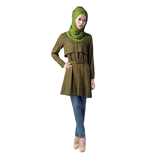 Haodasi New Musulman Femme Kaftan Abaya Dress Islamic Ceinture assortie Manche longue Chemise green