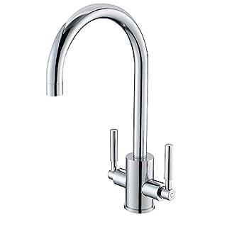 VAPSINT 75% Off Discount Very Sturdy Paris Designer Double Handles Chrome Kitchen Sink Mixer Valve Taps, Great Solid Kitchen Tap