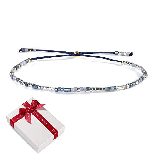 Damen Blau Dünn Seil Rocailles Perlen Armband Freundschaftsarmbänder für Frauen Mädchen, Boho Verstellbar Zart Armreif Armkettchen Geschenk für Mama Beste Freundin Weihnachten Muttertag Geburtstag
