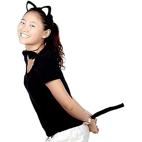 lesunhug (TM) nuovo halloween puntelli divertente vestire partito set di accessori peluche Fluffy Cat Ear fascia per capelli Bow Tie Tail animali Costume