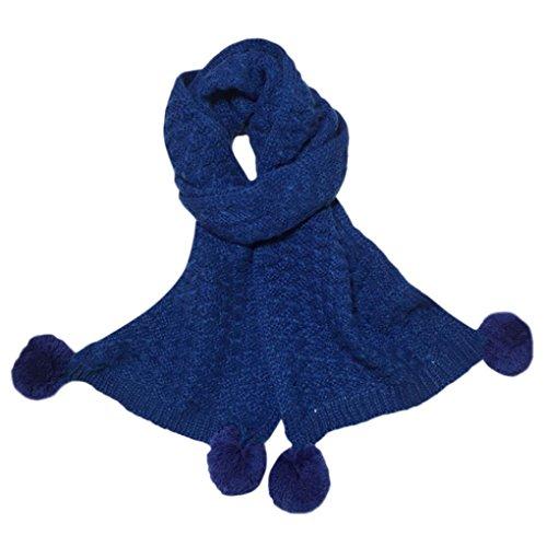 sunnymi 2-12 Jahre Alt Warmen Pure Farbe Stricken Kinderschal Baby Jungen Mädchen Unisex Herbst Winter 150cm (150cm, Blau) (Stück Anzug Stretch-zwei)