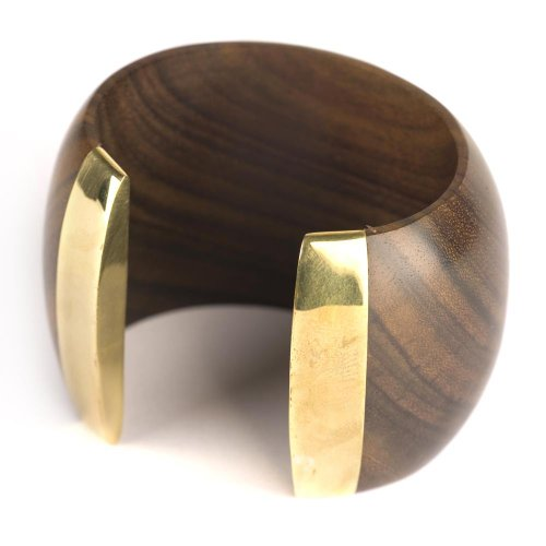81stgeneration Dunkel großen organischen Stulpearmband Gold Armband Holz braun - Armband Bademode