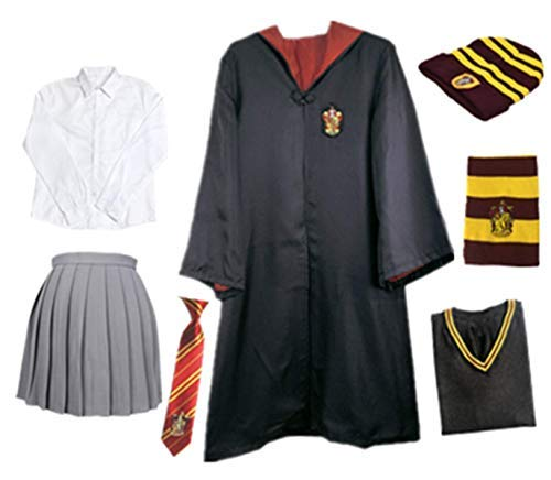 chsene Umhang Kostüm Für Harry Potter,Fancy Dress Cosplay Outfit Set Zauberstab Krawatte Schal Brille Hut Hemd Rock Karneval Verkleidung Fasching Halloween 105-185 ()