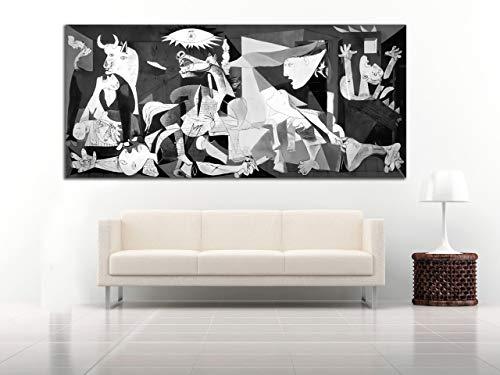 Cuadro Lienzo Guernica Picasso 58x130 cm - Lienzo de Tela Bastidor de Madera de 3 cm - Fabricado en España - Varias Medidas - Impresión en Alta resolución