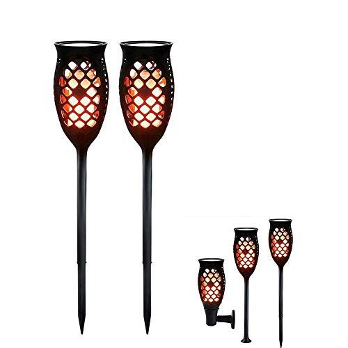 2 Stück Set Solarleuchten Gartenfackeln solar Licht Lampe 99 LED Flackerlicht Fackel Tanzen Flamme mit eingebauter Batterie, Pfad-Taschenlampe für Dekoration Festival Atmosphäre im Freien Wasserdicht