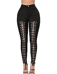 Leggings Mujer Cintura Alta Push Up Pantalones Skinny Leggins Rotos Jeggings Negro L