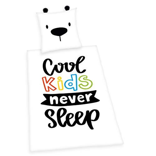 Bettwäsche- Set Young Collection Cool Kids Never Sleep, Kopfkissenbezug 80x80cm, Bettbezug 135x200cm, Renforcé, mit Qualitäts-Reißverschluss