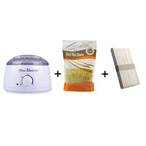 Depilacion corporal Crema depilatoria cera calentador maquina, cera caliente olla + 50 espatula de madera palos + 1 bolsa Pearl Wax Beans