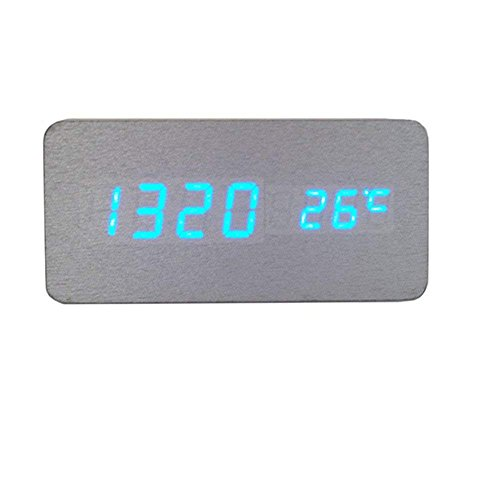 Holz LED Wecker Hölzerne Uhr Digital Modern Tischuhr mit Uhrzeit / Datum / Woche / Temperatur Anzeige für Heim Kinder Büro - Hmjunboys (Silber Blau) Flache Lcd-thermometer