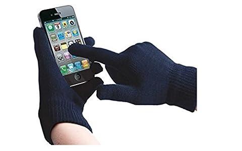 Fone-Case Huawei P8lite ALE-L04 (Dark Blue) Touchscreen Handschuhe für Smartphones und Tablets mit 3 Fingern Silber beschichtete Nylon Fiber Tips
