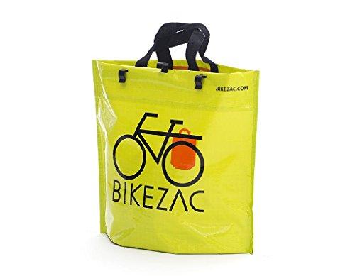 BIKEZAC® Clip-On EINKAUFS-FAHRRADTASCHE | Einseitige Einkaufstasche | Gepäckträgertasche | Faltbar | Wasserabweisend | Trageschlaufen | Ökologisch