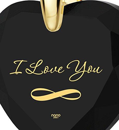 Pendentif Coeur - Bijoux Romantique Plaqué Or avec I Love You et le symbole de l'infini inscrits à l'Or 24ct sur un Zircon Cubique en Forme de Coeur, Chaine en Or Laminé de 45cm - Bijoux Nano Noir