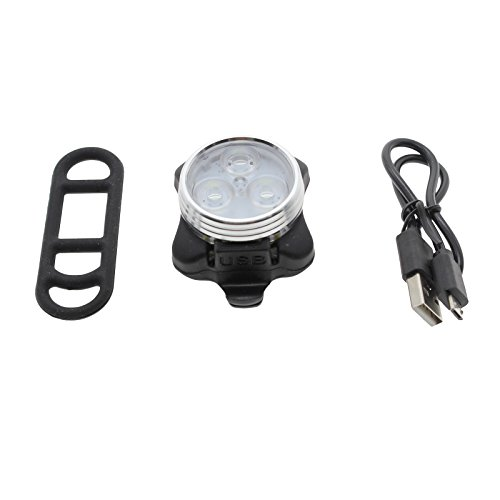 VANKER USB lámpara recargable Seguro 1X la bicicleta 3 LED frontal Cabeza...