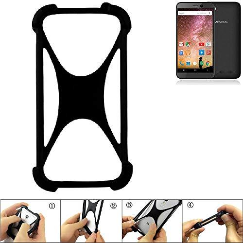 K-S-Trade Handyhülle für Archos 40 Power Schutz Hülle Silikon Bumper Cover Case Silikoncase TPU Softcase Schutzhülle Smartphone Stoßschutz, schwarz (1x)