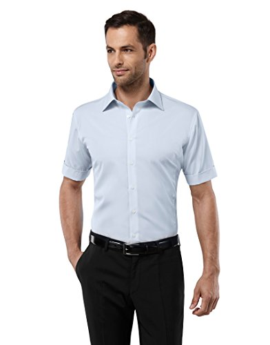 Vincenzo Boretti Herren-Hemd Bügelfrei 100% Baumwolle Kurz-Arm Slim-Fit Tailliert Uni-Farben - Männer Hemden für Anzug mit Krawatte Business Oder Freizeit Hellblau 41/42 (Kurzarm-anzug Baumwolle)