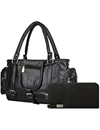 SALEBOX Fashions Women Three Buckle Leather Hand Bag With Wallet (Black) Pack Of Two Combo