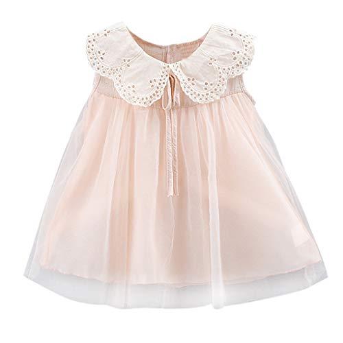 Baby ärmelloses lace-up Spitzenkragen Gaze Kleid YunYoud Baby Mädchen Reine Farbe Bow Lace Party Princess Kleid Elegante Lose Sommer Kleid Mini kurz Jumpsuit Sequin Lace Rock Set