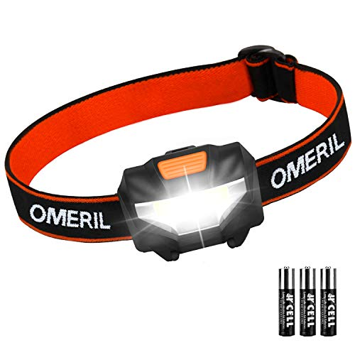 OMERIL LED Head Torch, Lightweight COB Headlamp with 3 Modes, IPX4  Waterproof, Super Bright 150 Lumens LED Headlight for Kids&Adults, Running,