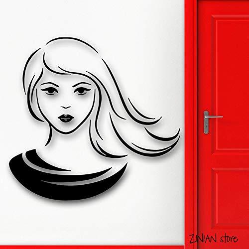 au Wandtattoos Mädchen Wandaufkleber Für Teen Schlafzimmer Mode Stil Haar Kunstwand Removable Home Decoration weiß 42x44 cm ()