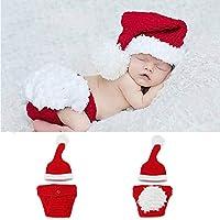 Ogquaton Neugeborenes Baby-reizendes Karikatur-Fotografie-Kostüm-Set, Weihnachten Santa strickte Häkelarbeit-Fotografie-Kostüm