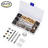 ToWinle 140 Set Metall Druckknöpfe 15mm Druckknopf Set 4tlg Werkzeug Locheisen mit Aufbewahrungsbox