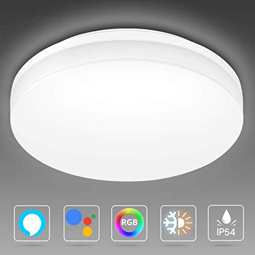 LE 15W Smart WiFi Deckenlampe, 1250lm Ø22cm LED Deckenleuchte Dimmbar(RGB + Kalt bis Warmweiß 2700-6500K), IP54 Badlampe Steuerbar via App, Kompatibel mit Alexa Google Home, kein Hub Erforderlich