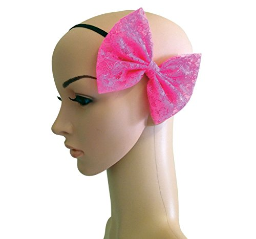 Neon Pink Lace 80's Hair Bow on a headband