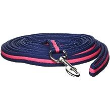 Shires - Wessex, guinzaglio morbido in lino, lunghezza 8 m, Multicolore (Blu marino/rosa), 8M/26