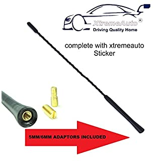 XtremeAuto® Universal Black Large 40cm Car Whip Aerial Antenna FM / AM Radio Reception Includes Adapters