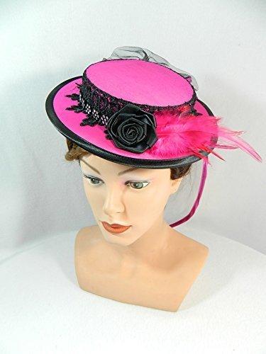 Midi Sommerhut Pink Damenhut Fascinator Hütchen