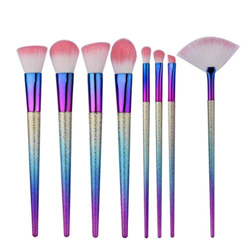 Fashion Base® 2017 Nouvelle arrivée 8 pcs Fond de teint liquide Fard à paupières Pinceaux de maquillage Eyeliner Poudre blush Kabuki Brosse outils doux kit de pinceaux cosmétiques professionnel