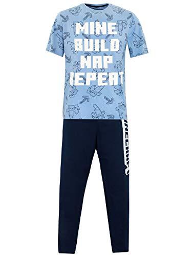 Minecraft Herren Schlafanzug Blau Small