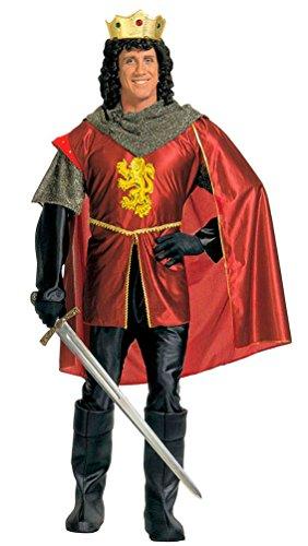 itter-Kostüm König-Kostüm Arthur Herren rot-gold-schwarz Mittelalter-Kostüm inkl. Krone Größe 54 (König Arthur Ritter Kostüm)