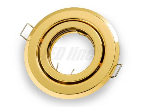 Einbaustrahler, LED und Halogen Einbauspot Spot Rund Metall Gold ideal für LED Lampen + GU10 Fassung, Beta -