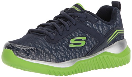 Skechers Sneaker, Groesse 37, Marine/Neongrün (Skechers Schuhe Jungen 5 Größe)
