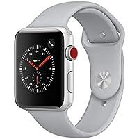 Apple Watch Series 3, GPS & Cellular, 42 mm Alu. silber, Sportarmband nebel