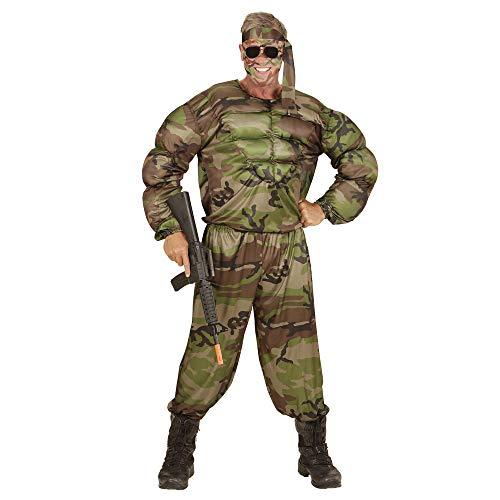 Widmann 00513 - Erwachsenenkostüm muskulöser Soldat, Muskelshirt, Hose und Stirnband, grün (Militar Disfraz Halloween)