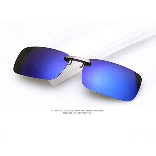Zimo Polarisierte Unisex Sonnenbrille Clip Brillen Pol Aufsatz für Brillenträger (Blau)